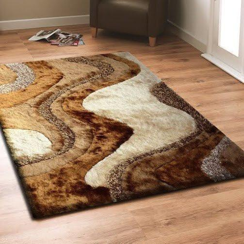 Synthetic Rug - Rug Factory Plus, Shaggy Viscose Area Rug, Design 29 Brown Beige