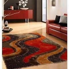 Synthetic Rug - Rug Factory Plus, Shaggy Viscose Area Rug, Design 29 Brown Orange
