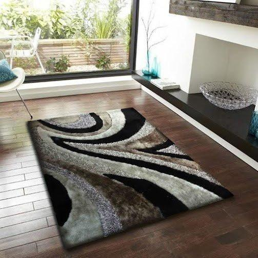Synthetic Rug - Rug Factory Plus, Shaggy Viscose Hand-Tufted Design 26 Area Rug, Gray/Black