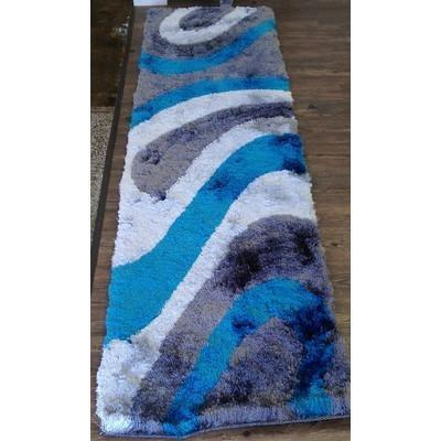 Synthetic Rug - Rug Factory Plus, Shaggy Viscose Hand-Tufted Design 26 Area Rug, Gray/Blue