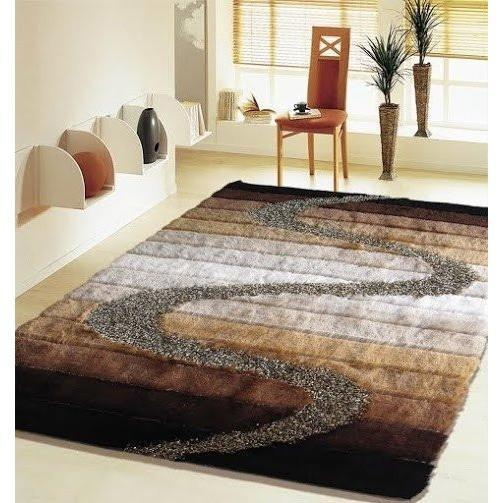 Synthetic Rug - Rug Factory Plus, Shaggy Viscose Hand-Tufted Design S10-4, Brown