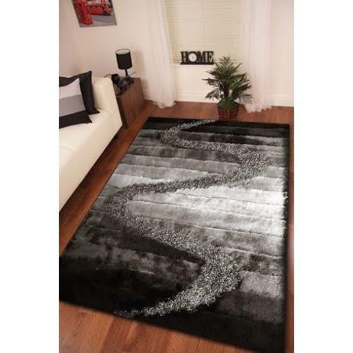 Synthetic Rug - Rug Factory Plus, Shaggy Viscose Hand-Tufted Design S10 Area Rug, Gray