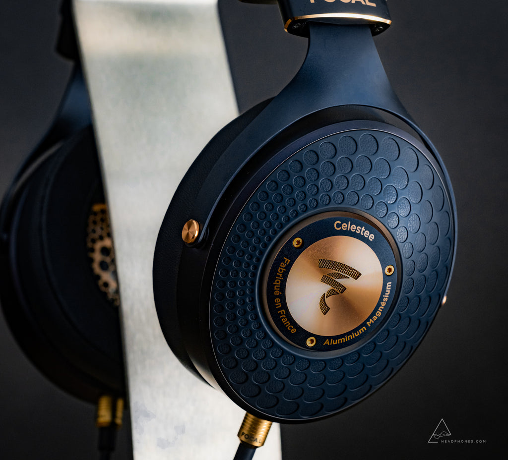 Focal Celestee luxury mobile portable over-ear closed-back headphones closeup | available on headphones.com