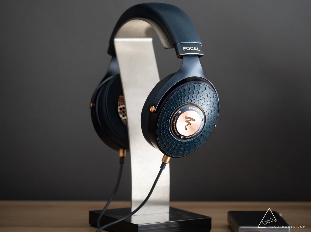 Focal Celestee Closed-Back Dynamic Driver Headphones on Focal Headphone Stand | Headphones.com