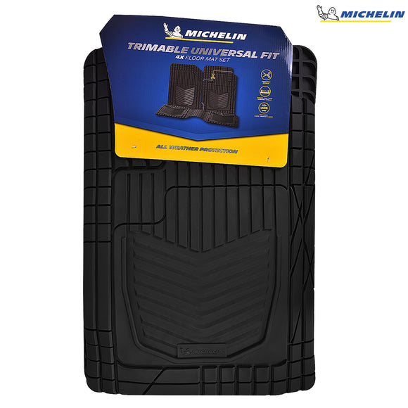 MICHELIN 238 Trimable Universal Fit Mats 4 Pcs Set Black
