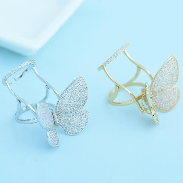 Zircon® Crystal Stones Made Butterfly Ring [Limited Edition]