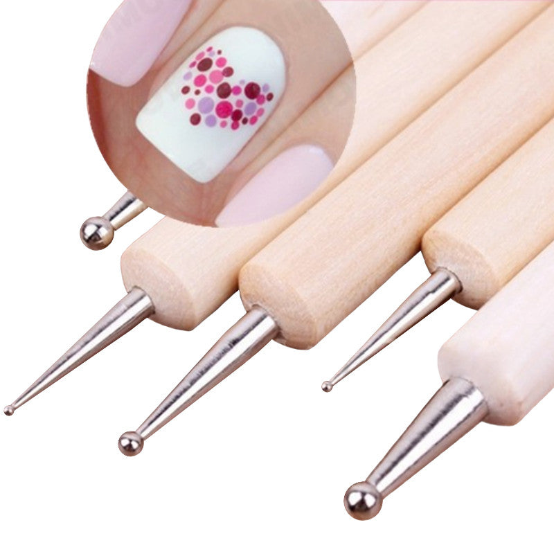 DOUBLE DOT SET OF 5 Wooden Nail Tool