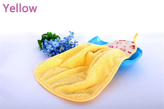 Coral Fleece Microfiber Hanging Hand Towel Assorted Colors Quick Dry Thicken Cleaning Cloths Wipes Rags for Kitchen & Bathroom