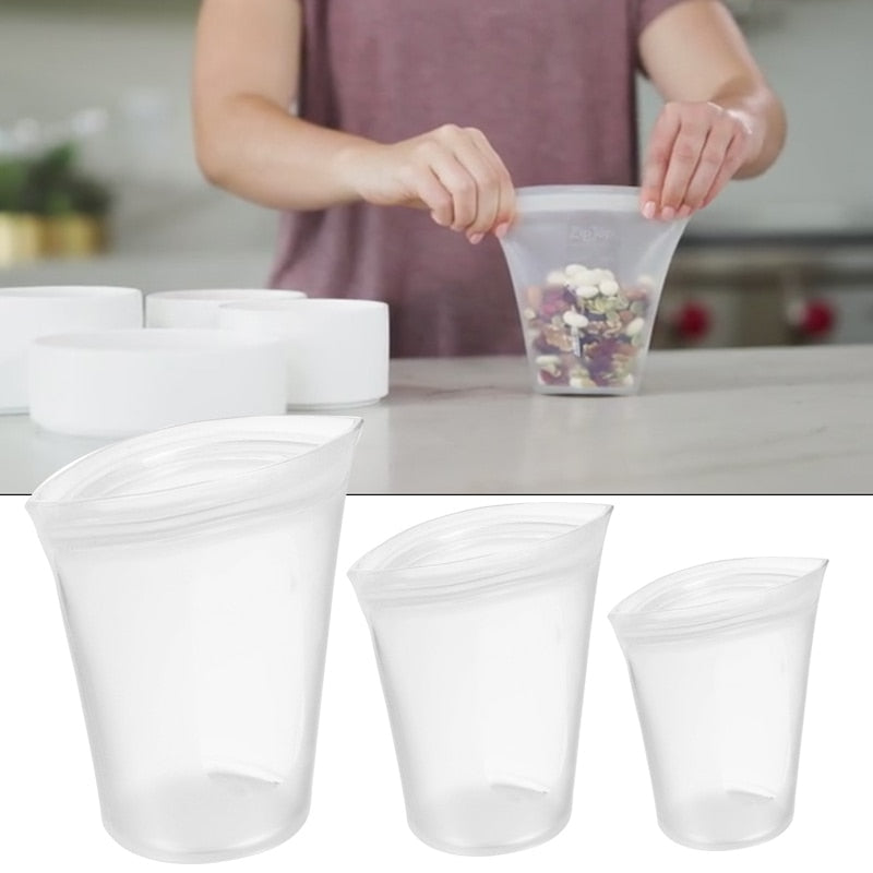Cup Ziplock Bag 2000 - Reusable Silicone Food Storage Bags (3 Pcs.)