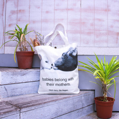 """ditch dairy, go vegan"" tote bag"