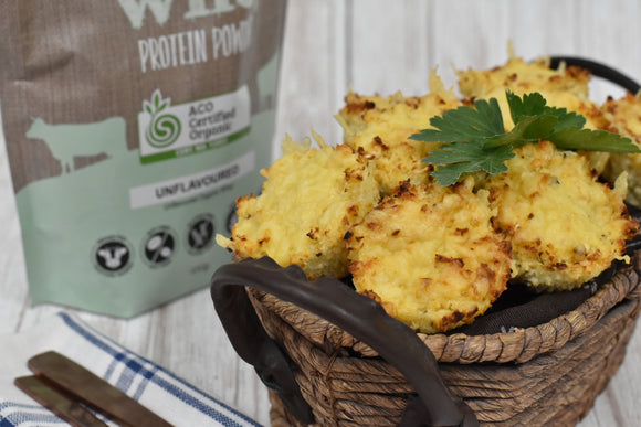 Cheesy Cauliflower Protein Powder Muffins