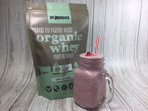 Strawberry Super Shake with Proganics Certified Organic Whey