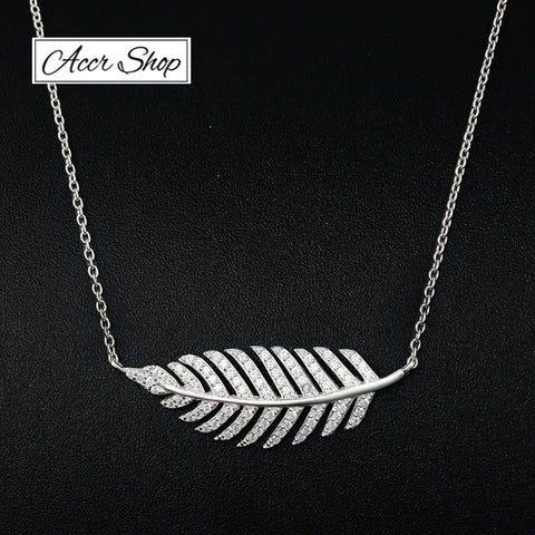 UMODE Brand 925 Sterling Silver Feather Necklaces & Pendants for Women White Gold Color Leaf Necklace Trendy Colar Gifts UN5002