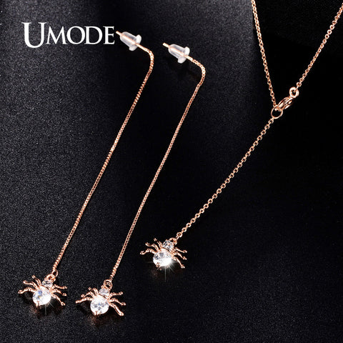 UMODE Spider Rose Gold Cubic Zirconia Long Dangle Earrings and Necklace Set Fashion Jewelry For Women Cute Christmas Gift US0034