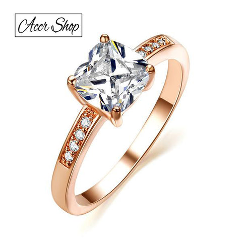 UMODE Rose Gold Color 7mm Square CZ Stone Engagement Ring JR0118A