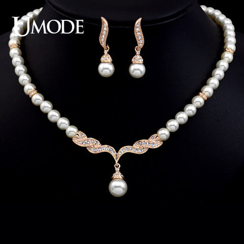 UMODE Rose gold Color Imitation Pearl Strand Earrings and Necklace Set JS0036A