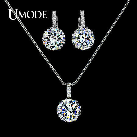 UMODE Fashion Women Jewelry Set Including 1 Chain Pendant Necklace & 1 Pair CZ Stone Hoop Earrings with Quality Handcraft US0012