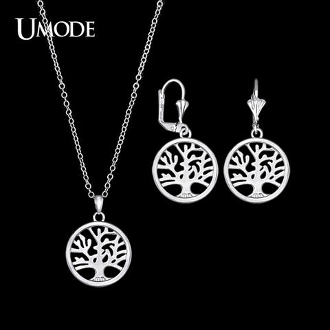 UMODE Handmade Personalized White Gold Color Tree of Life Carved Medallion Pendant Necklacek and  Earrings Jewelry US0030B