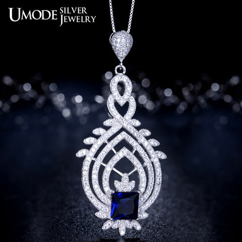 UMODE Vintage Royal Token Genuine 925 Sterling Silver with Green Stone Pendant Necklaces YN0005C