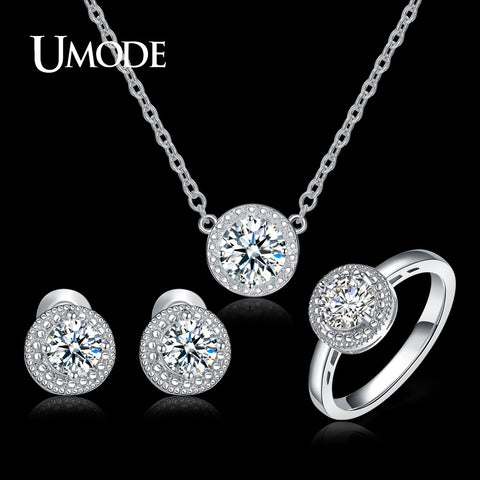 UMODE Wedding & Engagement Jewelry for Women White Gold Color Round CZ with Necklaces & Earring & Ring Jewelry Sets Gift US0043