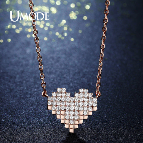 UMODE Long Link Chain Open Heart Stone Gold Color Pendant Necklaces for Women Fashion Jewelry Accessories Collier Femme UN0239
