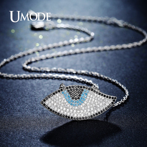 UMODE New Long Link Chain Blue Eye Necklaces & Pendants for Women Colar Jewelry Accessories Kolye Bijoux Femme Lady Gifts UN0237
