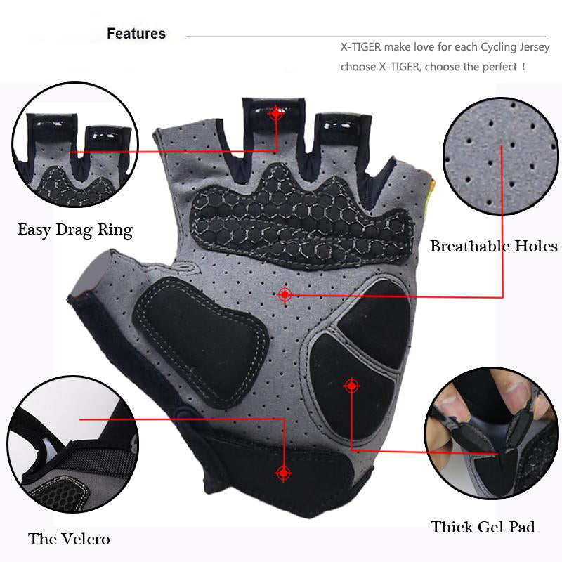 X-Tiger 3D GEL Pad Sport Gloves Half Finger MTB Bike Gloves Cycling Gloves Luvas Bicicleta Para Ciclismo Mountain Bicycle Gloves