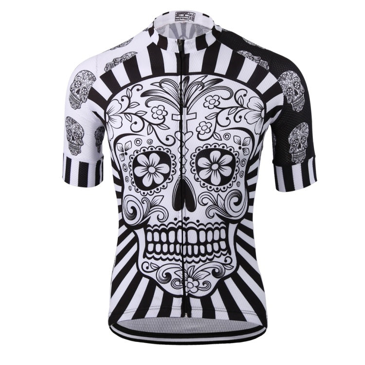 White skull sublimation printing cycling jersey