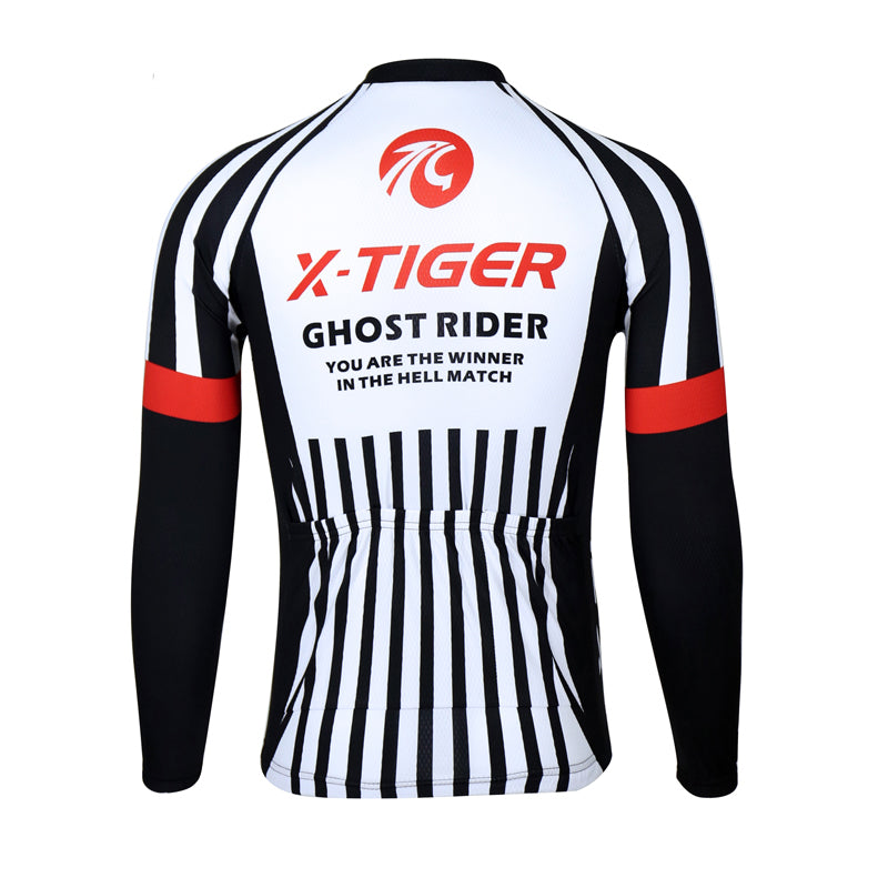 X-Tiger 100% Polyester Men's Cycling Jersey Long Sleeve Ropa Ciclismo Bicycle Clothing Quick Dry Riding Clothes