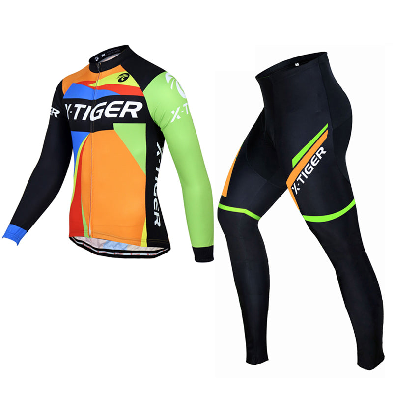 X-Tiger 2017 Long Sleeve 100% Fleece Pro Cycling Jersey Set MTB Bicycle Clothes Wear Winter Thermal Ropa Ciclismo Bike Clothing