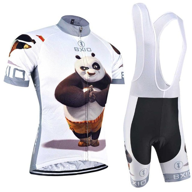 BXIO 2018 Funny Cycling Jerseys Ropa De Ciclismo Fat Bear Raiders Cycling Clothing Sets Completo Ciclismo Estivo BX-0209XM081