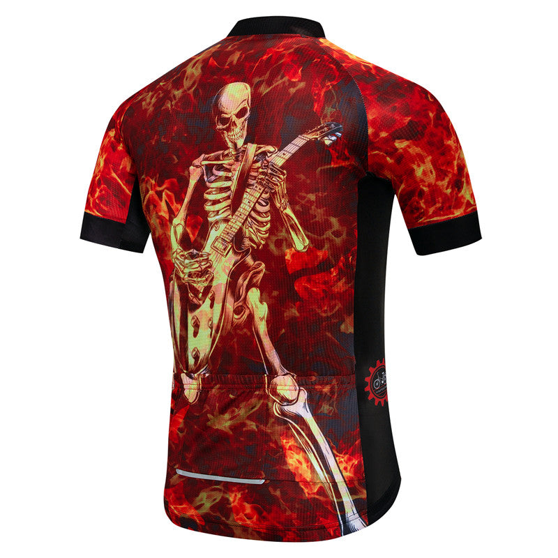 Breathable Fire Skull Cycling Jersey