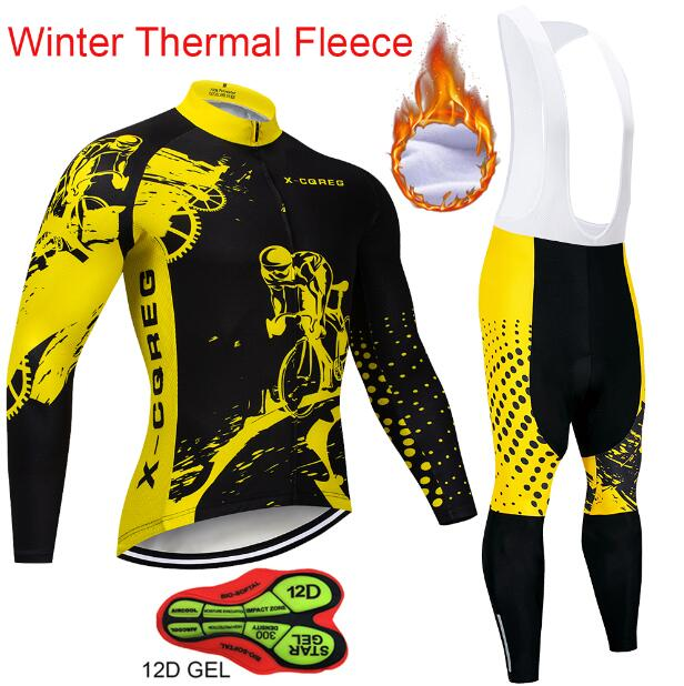 Winter Thermal Fleece Long Sleeve Cycling Jersey Sets