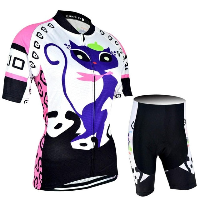 Women t Funny Cat Cycling Jersey Sets