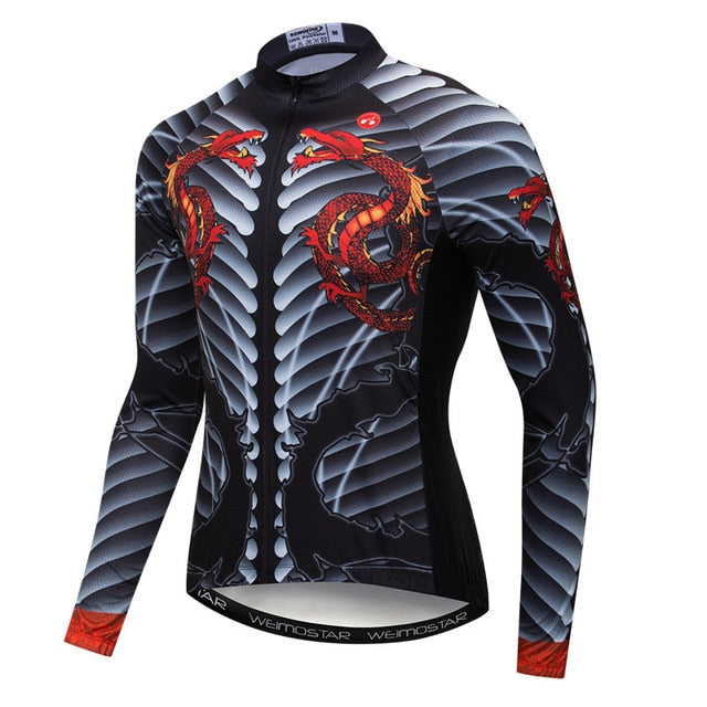 3D Print Skull Long Sleeve Cycling Jersey