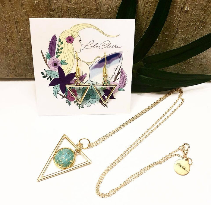 Triangle Gold Fleck Necklace & Earring Set by LOKI Collection