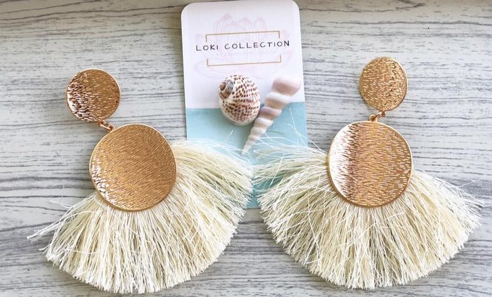 LOKI Collection Medallion Fan Tassel Earrings