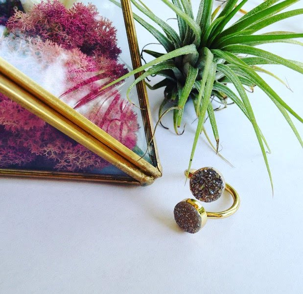 Double Druzy Wrap Ring