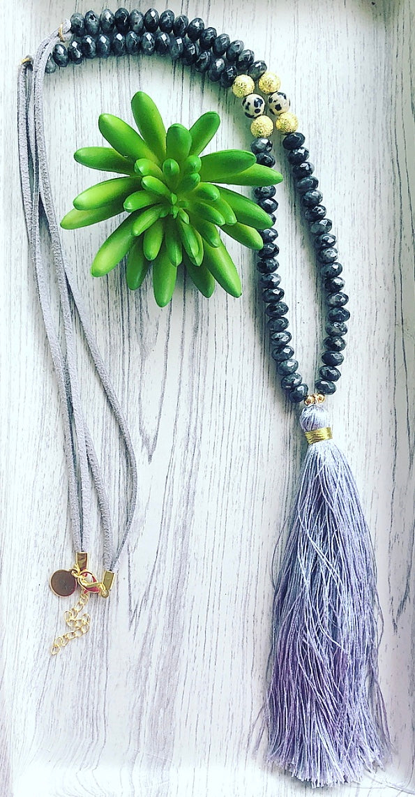Black Labradorite Beaded Mala Tassel Necklace