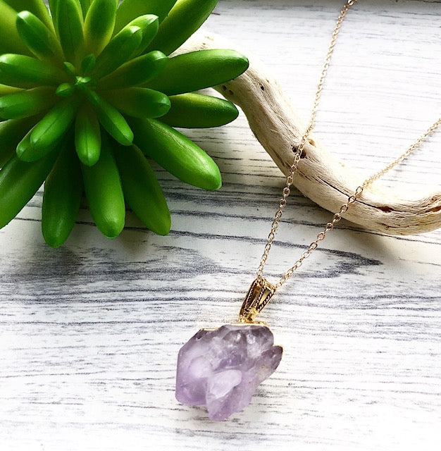 Raw Amethyst Nugget Pendant Necklace