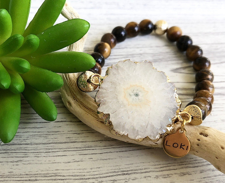 Sunburst Quartz Tigers Eye Beaded Bracelet