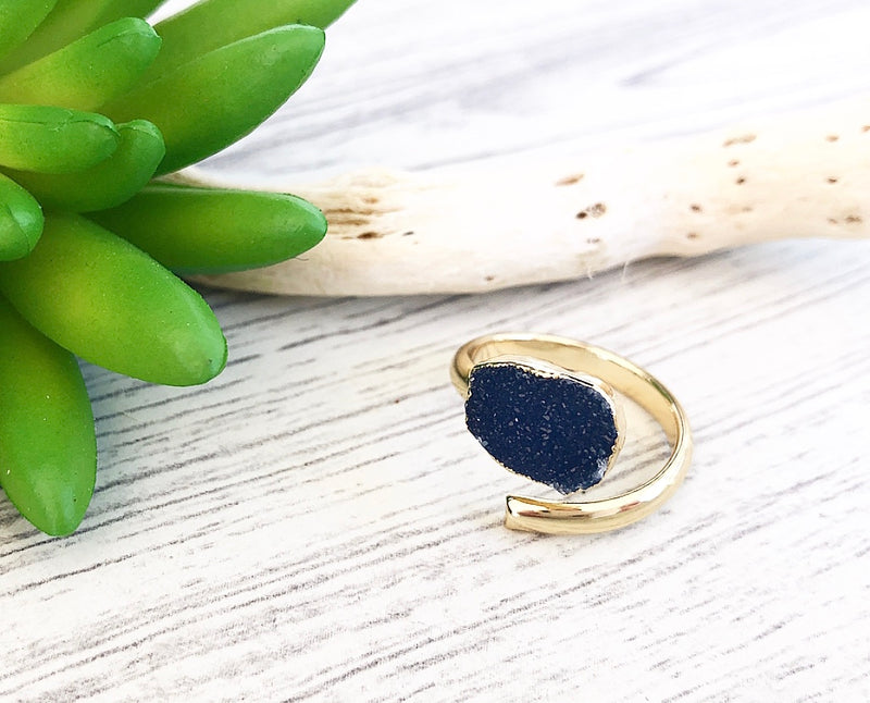 Single Druzy Wrap Ring