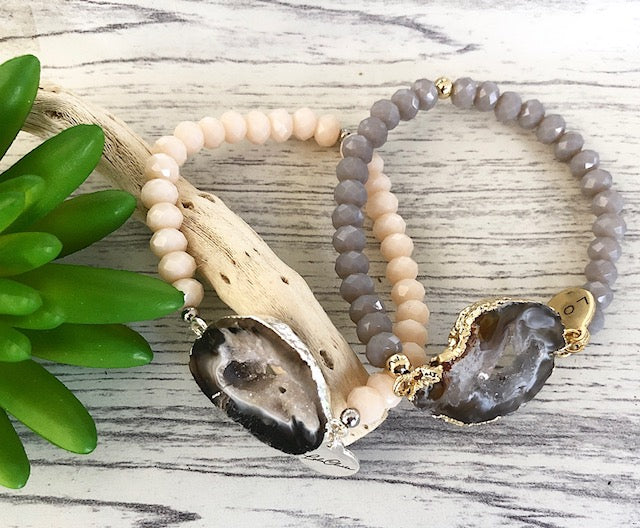 Natural Agate Slice Beaded Stretch Bracelet