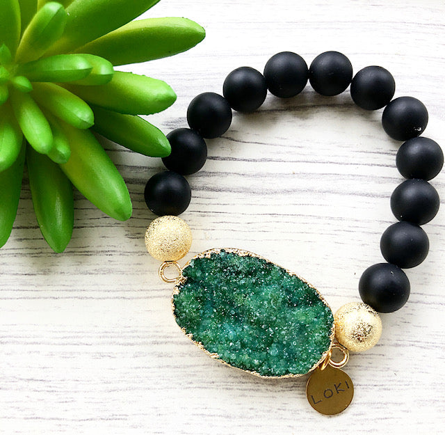 Green Druzy and Matte Black Beaded Stretch Bracelet