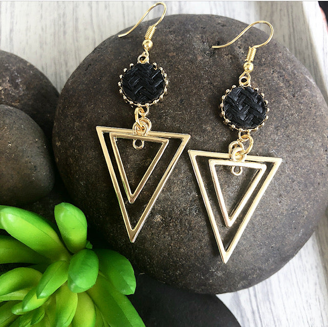 Basket Weave Geo Drop Earrings