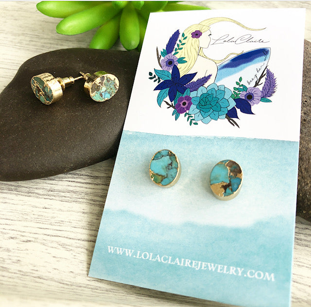 Crackle Turquoise Stud Earrings