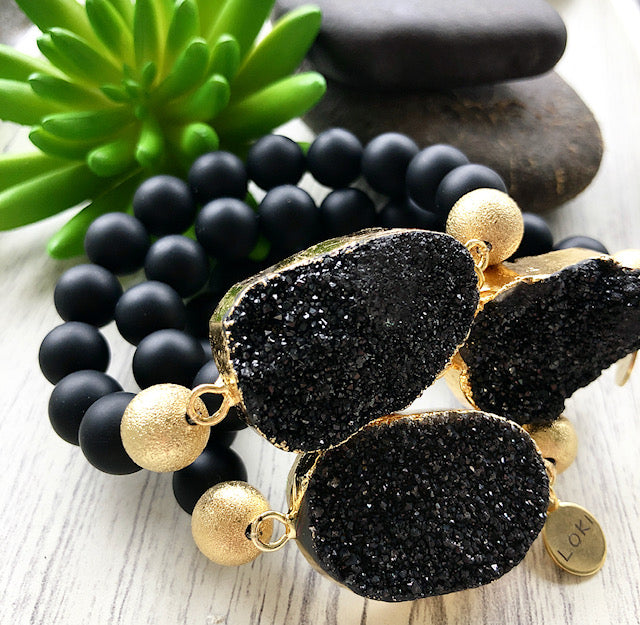 Black Druzy and Matte Black Beaded Stretch Bracelet