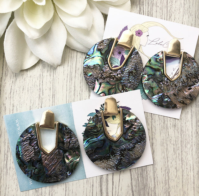 Abalone Disc Earrings