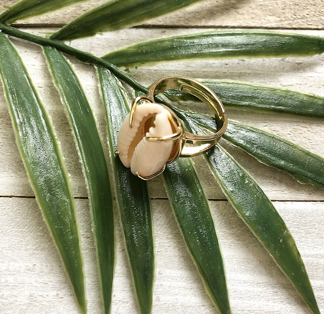 Cowrie Shell Adjustable Ring