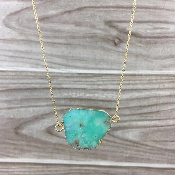 Chrysoprase Double Bail Pendant Necklace
